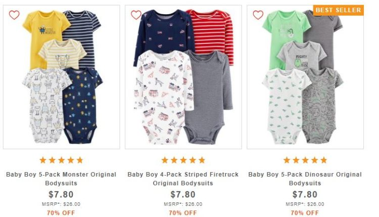 b1fad0765 Carter's Baby Girl or Baby Boy 5-Piece Bodysuit Set $7.80 (regularly $26)  Shipping is free
